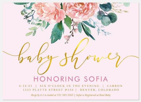 Gilded Garden Baby Shower Invitations