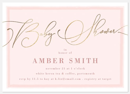 Wonderful Flourish Baby Shower Invitations