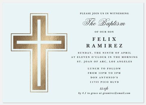 Classic Crucifix Baptism Christening Invitations