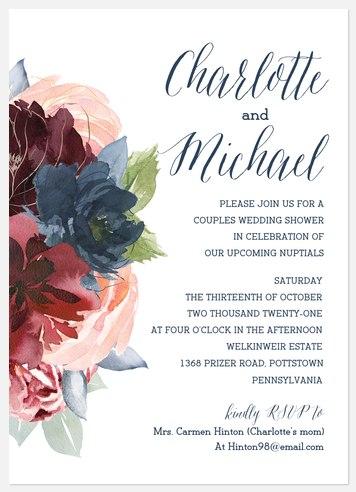 Marsala & Navy Bridal Shower Invitations