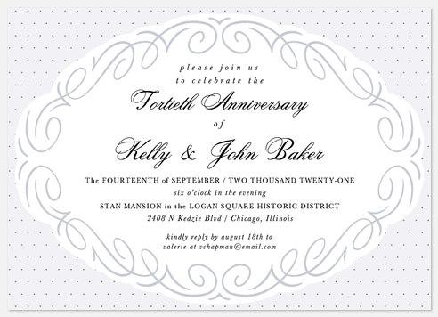 Oval Flourish Anniversary Invitations