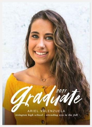 Cheerful Script Graduation Cards