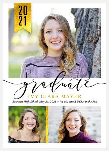 Golden Banner Graduation Cards