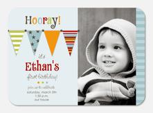 Birthday Invitations for Boys - Bunting Banner