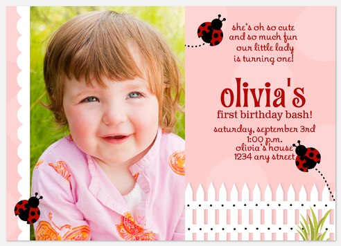 Ladybug Girl Birthday Invitations Ladybug Photo Birthday Invitations – 3 Year Old Birthday Invitation