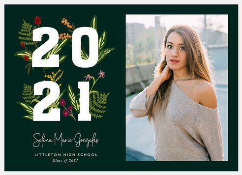 Blooming Numerals Graduation Cards