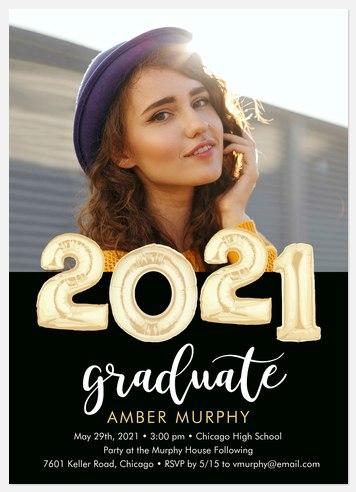 Golden Balloons Graduation Cards