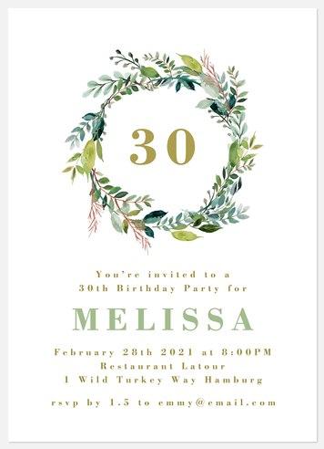 Naturalist Wreath Adult Birthday Invitations