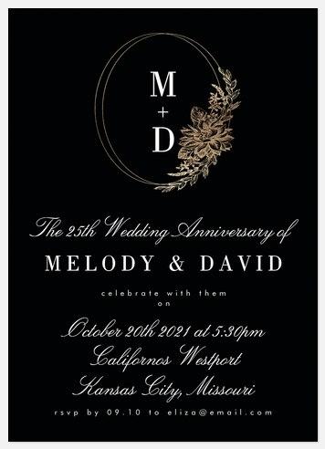 Gilded Wreath Anniversary Invitations