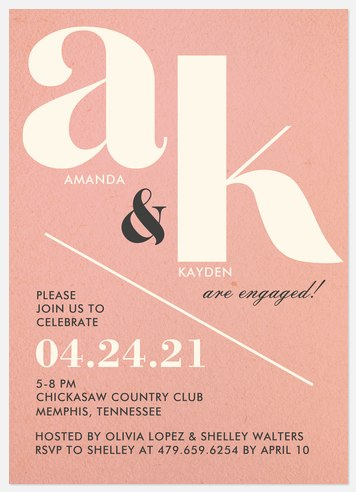 Modern Initials Engagement Party Invitations