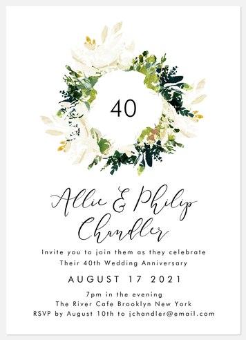 Modern Magnolia Anniversary Invitations