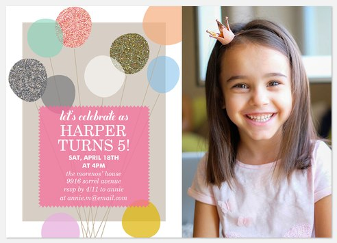 Glittering Balloons Kids' Birthday Invitations