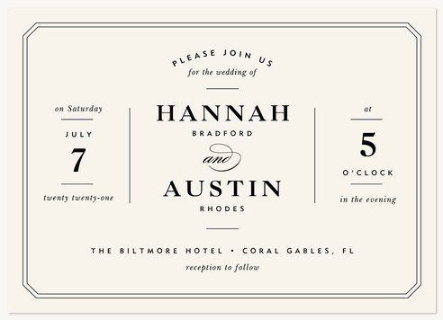 Center Stage Wedding Invitations