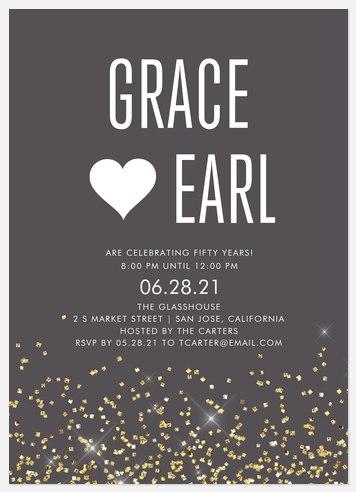 Glitter Cascade Anniversary Invitations