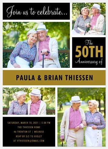 Golden Grid Anniversary Invitations