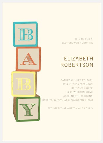 Baby Blocks Baby Shower Invitations