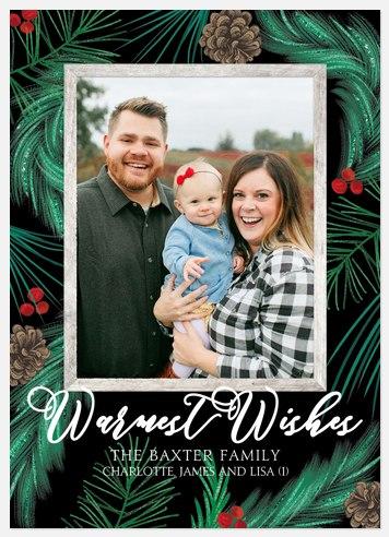 Painted Foliage Holiday Photo Cards
