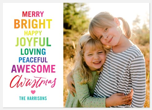 Joyful Rainbow Holiday Photo Cards