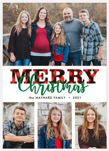 Bold Plaid Holiday Photo Cards