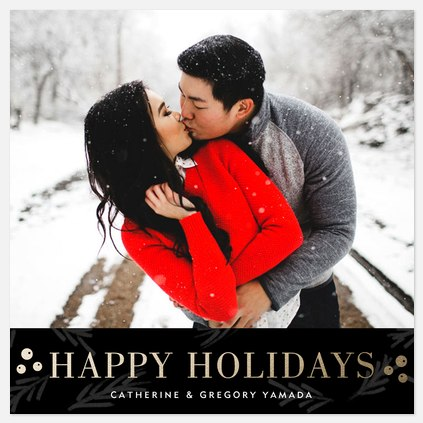 Berries Gilded Holiday Photo Cards