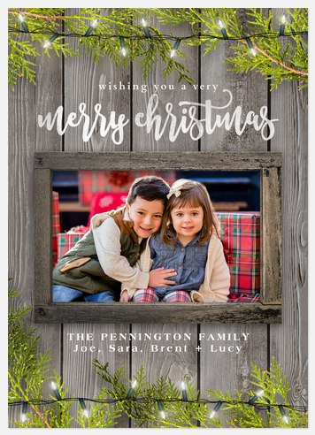 Lights & Greenery Holiday Photo Cards