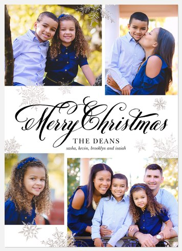 Sparkling Snowflakes Holiday Photo Cards