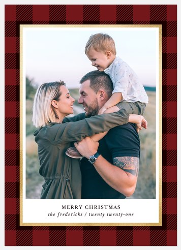 Rustica Plaid Holiday Photo Cards