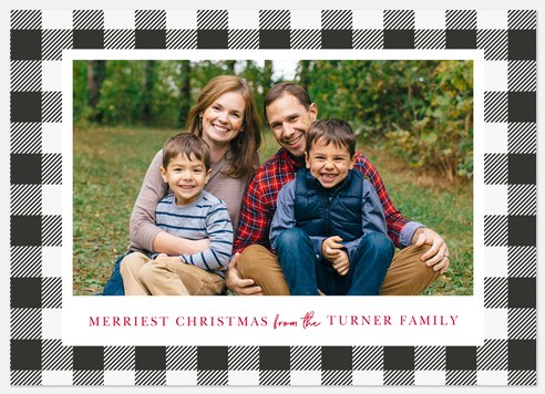 Bold Checkerboard Holiday Photo Cards
