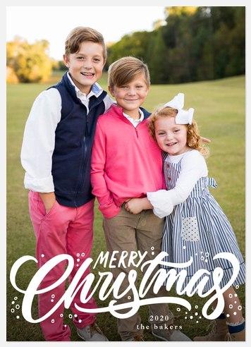 Snowfall Script Holiday Photo Cards