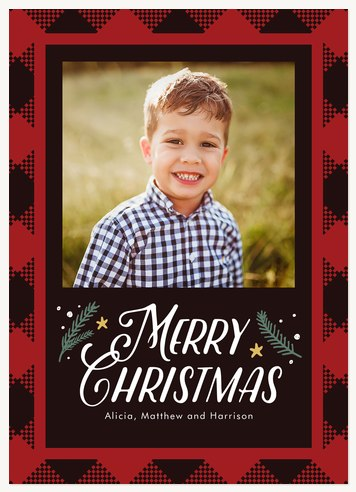 Woodland Check Personalized Holiday Cards