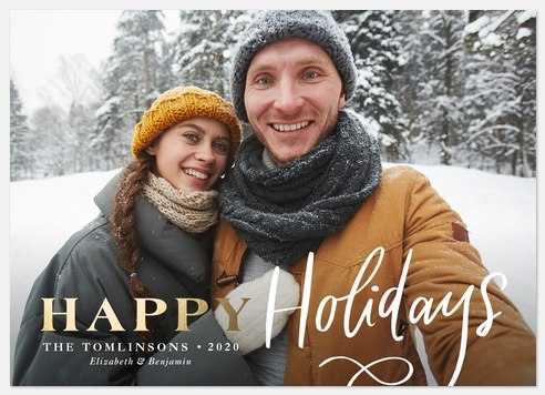 Golden Greetings Holiday Photo Cards