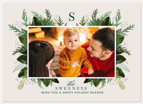 Greenery Monogram Holiday Photo Cards