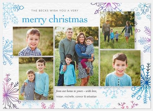 Rainbow Flakes Holiday Photo Cards