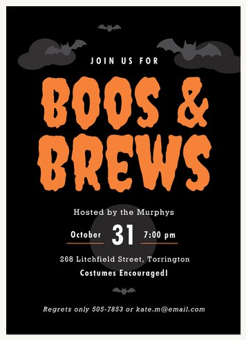 Boos & Brews Halloween Party Invitations