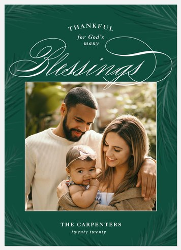Evergreen Blessings Holiday Photo Cards