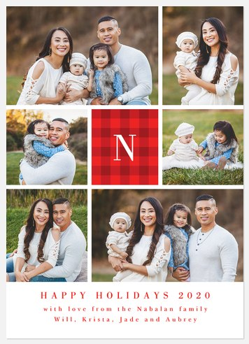 Flannel Monogram Holiday Photo Cards