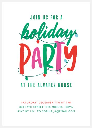 Bright Holiday Holiday Party Invitations