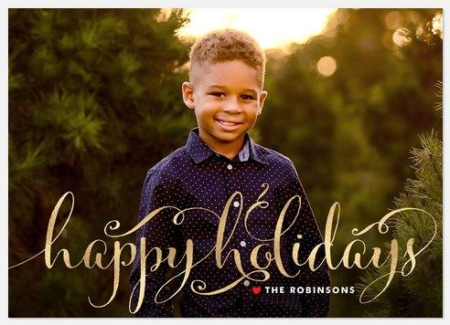 Metallic Flourishes Holiday Photo Cards