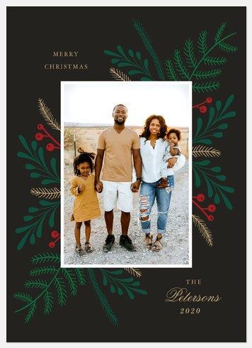 Simple Foliage Holiday Photo Cards