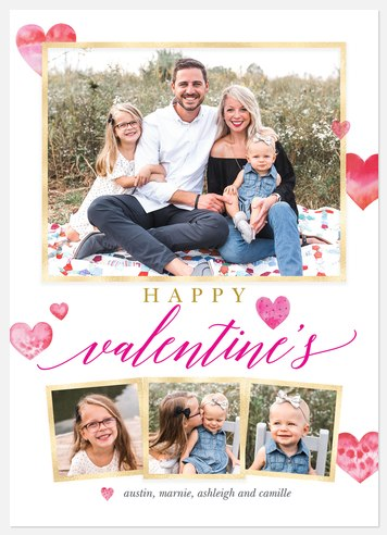 Painted Hearts Valentine Photo Cards