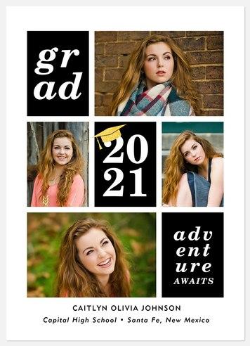 Contemporary Grid Graduation Cards
