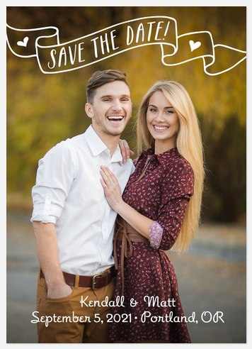 Hearts Banner Save the Date Photo Cards