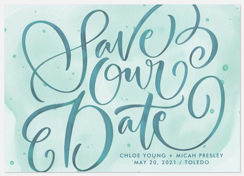 Watercolor Flourish Save the Date Photo Cards
