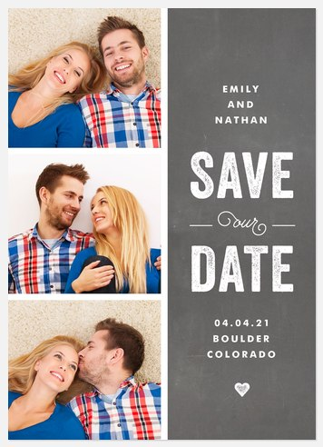 Delightful Chalkboard Save the Date Photo Cards