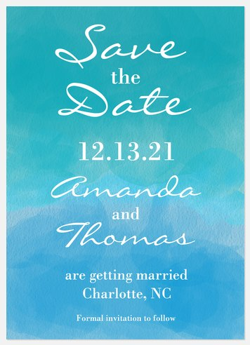 Watercolor Romance Save the Date Photo Cards