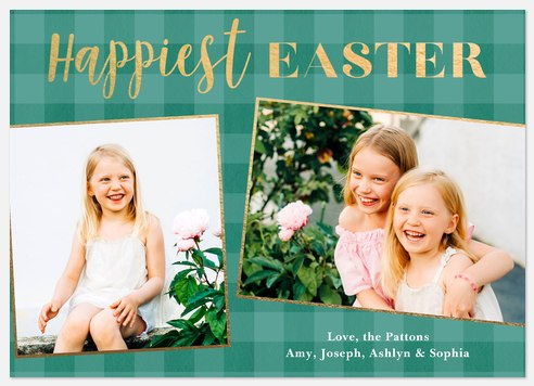 Spring Gingham Easter Photo Cards