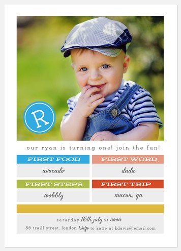 Fun Firsts Kids' Birthday Invitations