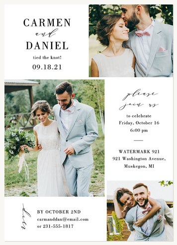 Traditional Trio Wedding Announcements