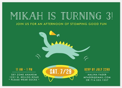 Dino Soar Kids' Birthday Invitations