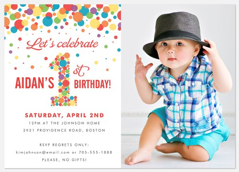 Rainbow Dots Kids' Birthday Invitations